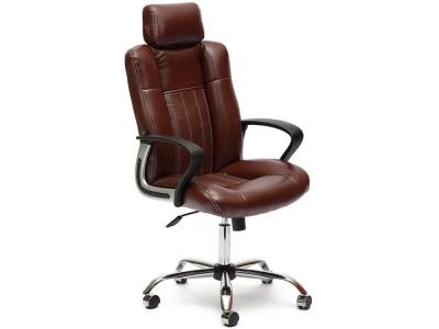 Кресло Oxford хром кож.зам Коричневый + Коричневый перфорированный (2 Tone/2 Tone /06)