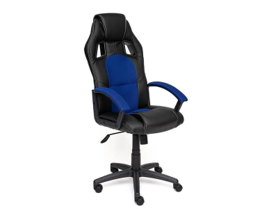 Кресло Driver кож.зам + ткань Чёрный + Синий (36-6/10)