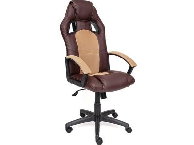 Кресло Driver кож.зам + ткань Коричневый + Бронзовый (36-36/21)
