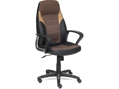 Кресло Inter кож.зам + ткань Чёрный + Коричневый + Бронзовый (36-6/3м7-147/21)