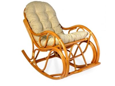 Кресло-качалка 05/04 с толстой подушкой коньяк