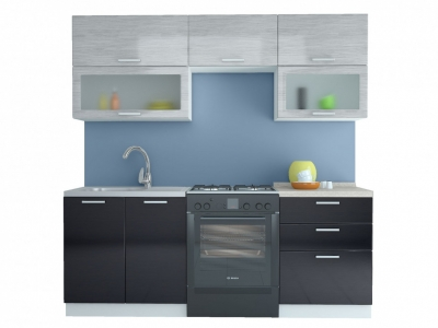 Кухня Равенна Стайл 2,0 м титан белый/титан черный