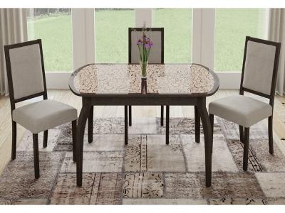 Стол обеденный раздвижной Сидней СМ-219.01.15 Венге, стекло с рисунком